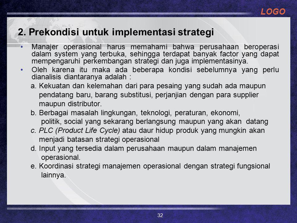 2. Prekondisi untuk implementasi strategi