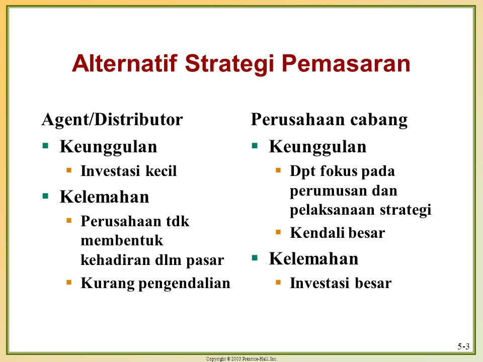 Alternatif Strategi Pemasaran