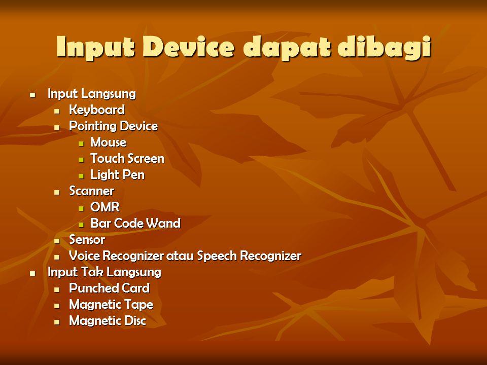 Input Device dapat dibagi
