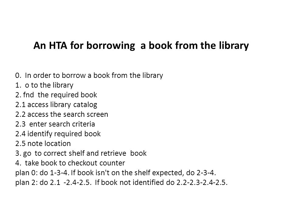 An HTA for borrowing a book from the library