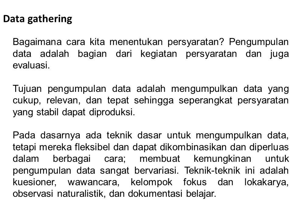 Data gathering Bagaimana cara kita menentukan persyaratan Pengumpulan data adalah bagian dari kegiatan persyaratan dan juga evaluasi.