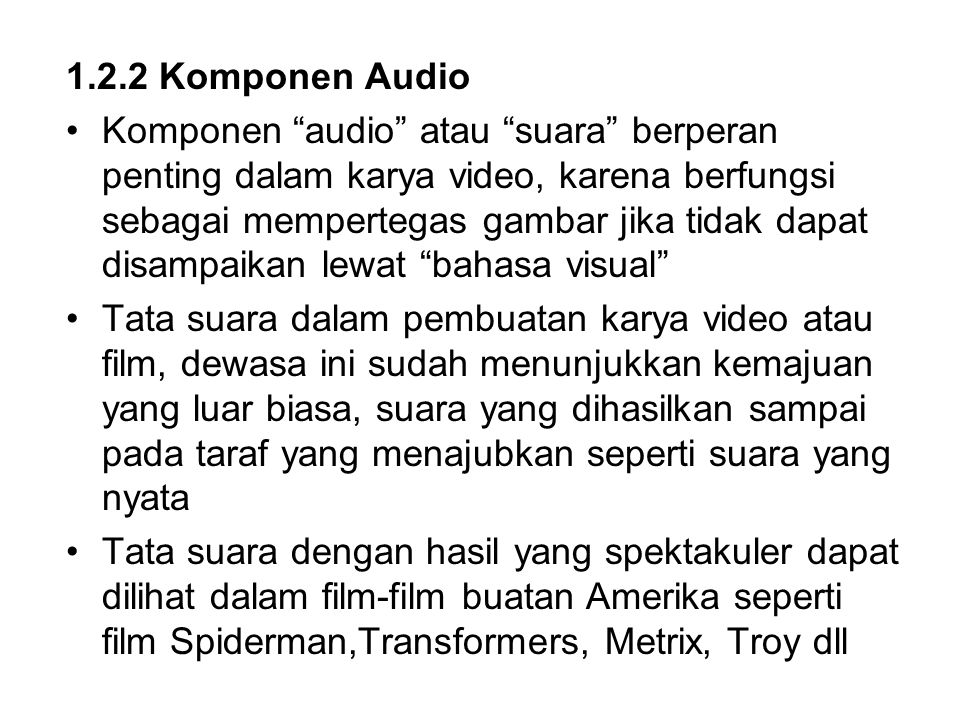 1.2.2 Komponen Audio