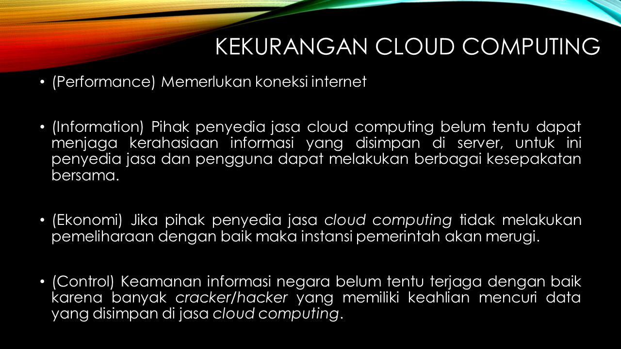 Kekurangan cloud computing