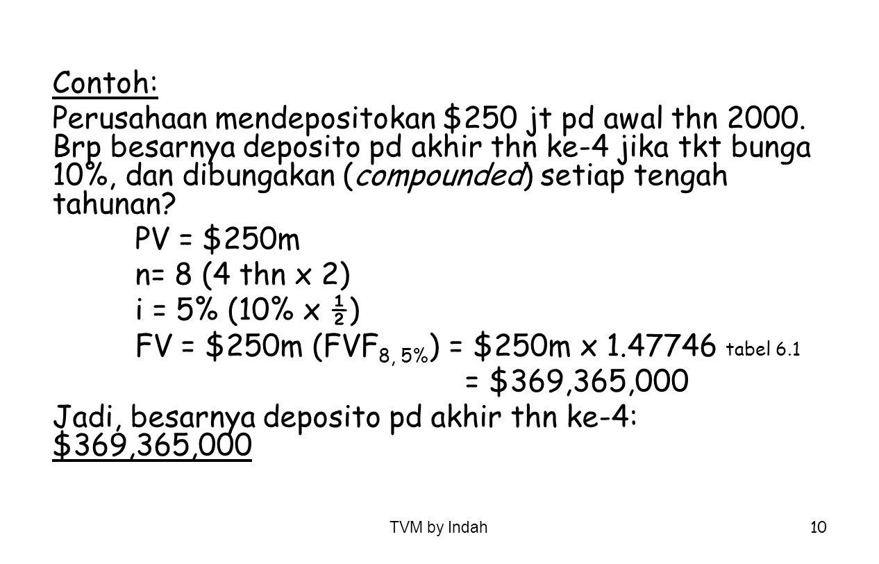 FV = $250m (FVF8, 5%) = $250m x 1.47746 tabel 6.1 = $369,365,000