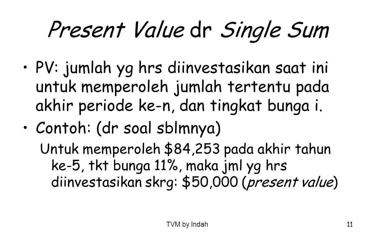 Present Value dr Single Sum