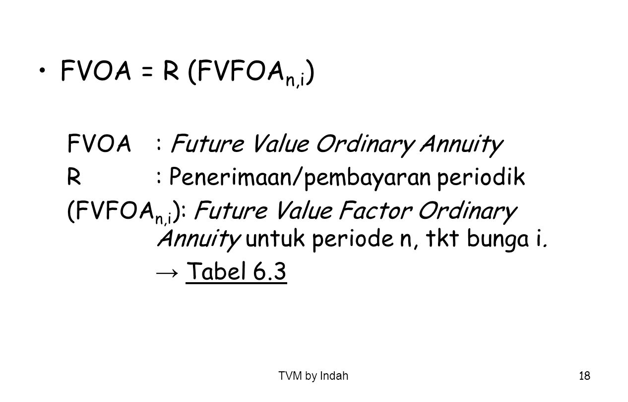 FVOA = R (FVFOAn,i) FVOA : Future Value Ordinary Annuity
