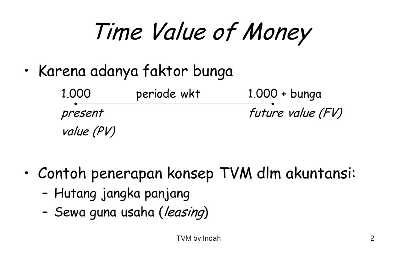 Time Value of Money Karena adanya faktor bunga