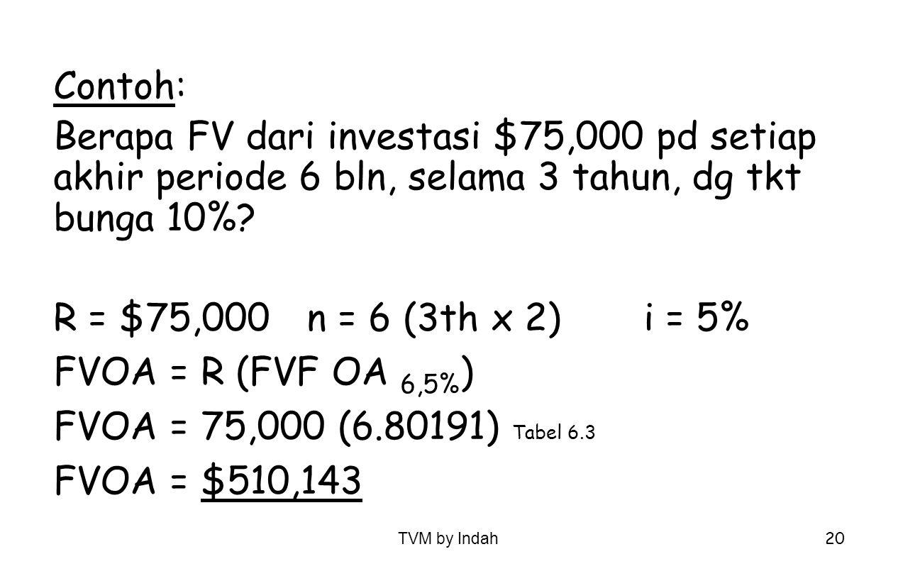 Contoh: Berapa FV dari investasi $75,000 pd setiap akhir periode 6 bln, selama 3 tahun, dg tkt bunga 10%