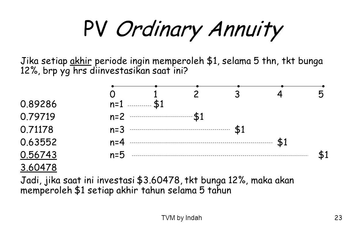 PV Ordinary Annuity Jika setiap akhir periode ingin memperoleh $1, selama 5 thn, tkt bunga 12%, brp yg hrs diinvestasikan saat ini