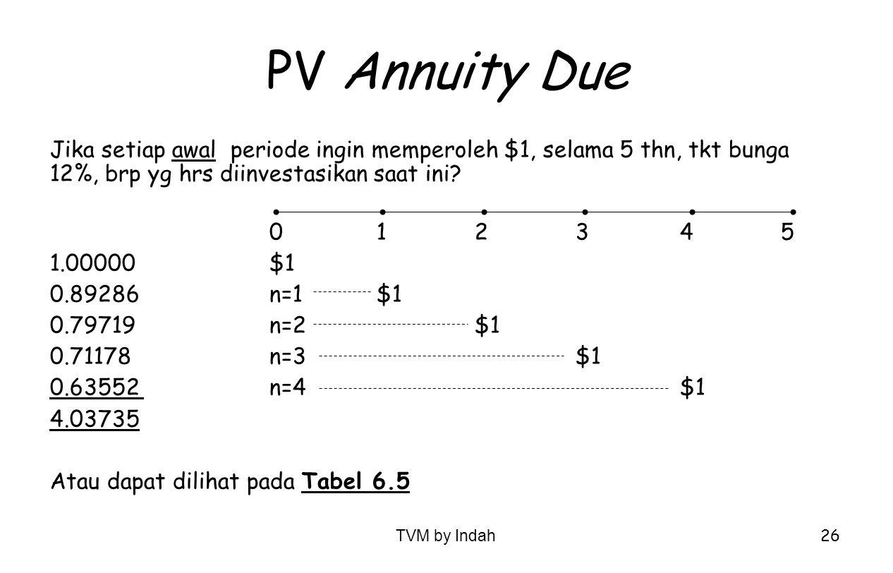 PV Annuity Due Jika setiap awal periode ingin memperoleh $1, selama 5 thn, tkt bunga 12%, brp yg hrs diinvestasikan saat ini