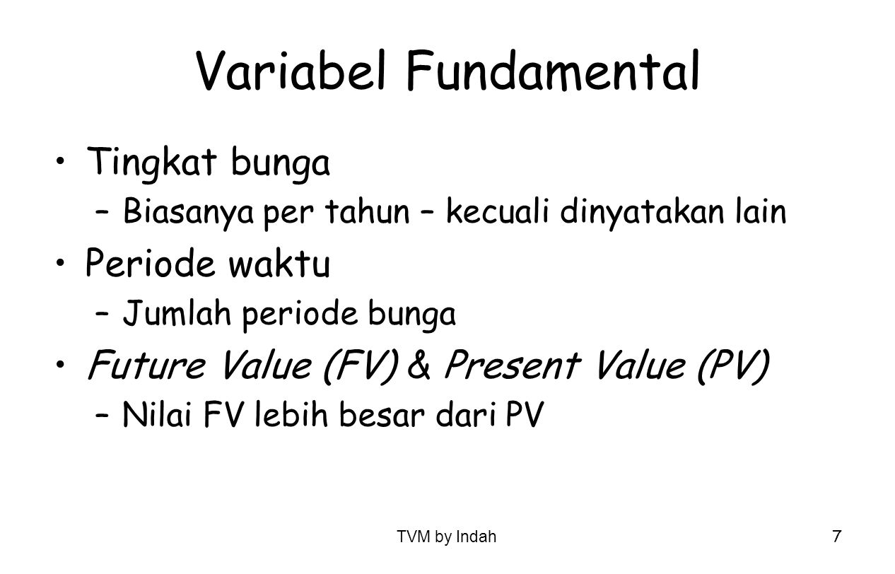 Variabel Fundamental Tingkat bunga Periode waktu