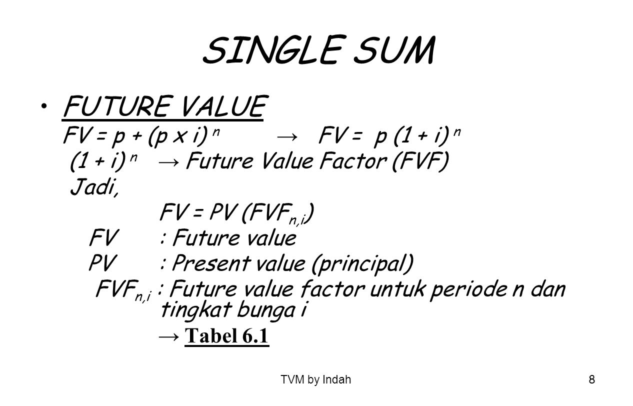 SINGLE SUM FUTURE VALUE FV = p + (p x i) n → FV = p (1 + i) n