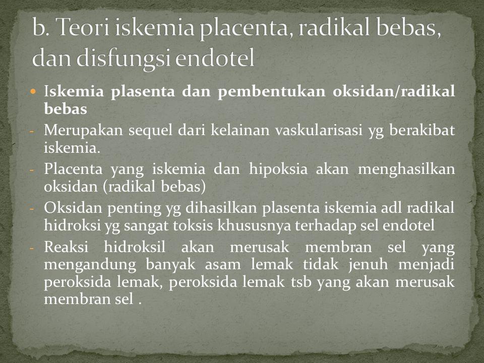 b. Teori iskemia placenta, radikal bebas, dan disfungsi endotel