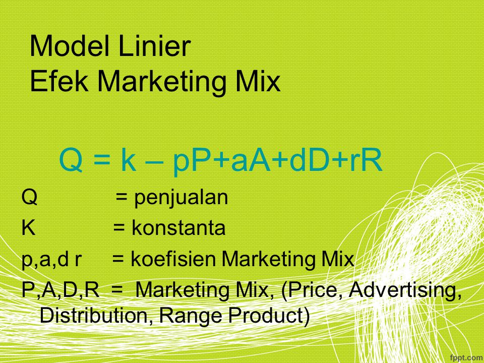 Model Linier Efek Marketing Mix