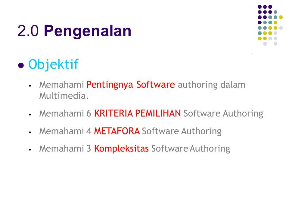 2.0 Pengenalan Objektif. Memahami Pentingnya Software authoring dalam Multimedia. Memahami 6 KRITERIA PEMILIHAN Software Authoring.