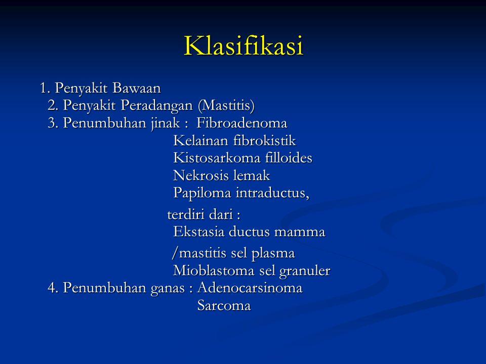 Klasifikasi terdiri dari : Ekstasia ductus mamma