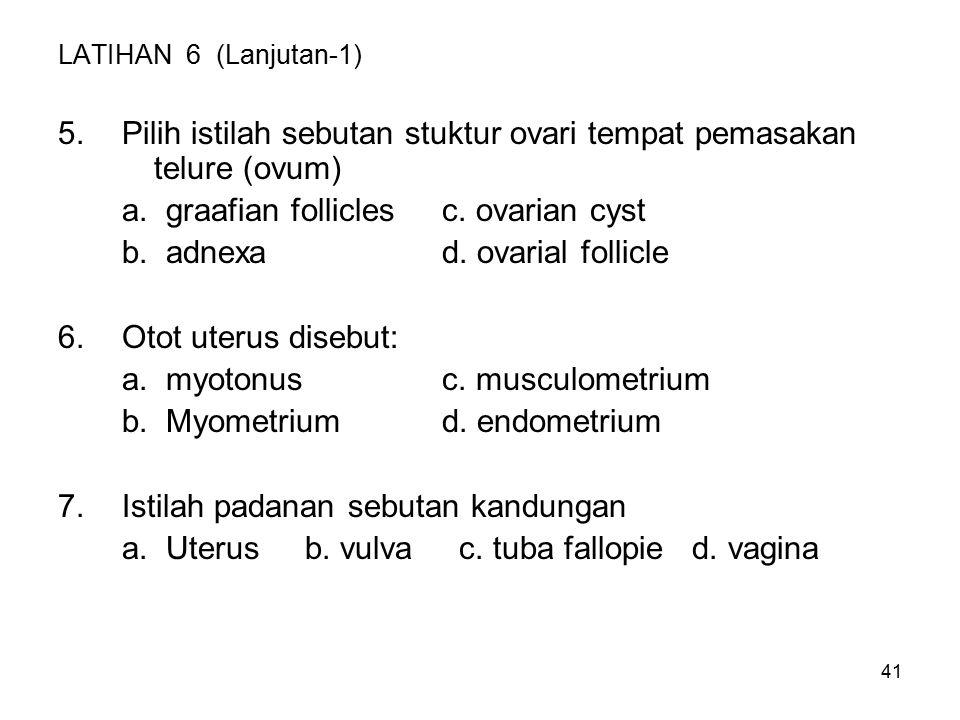 Pilih istilah sebutan stuktur ovari tempat pemasakan telure (ovum)