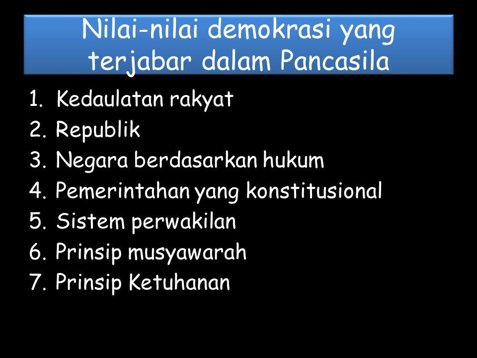 Nilai-nilai demokrasi yang terjabar dalam Pancasila