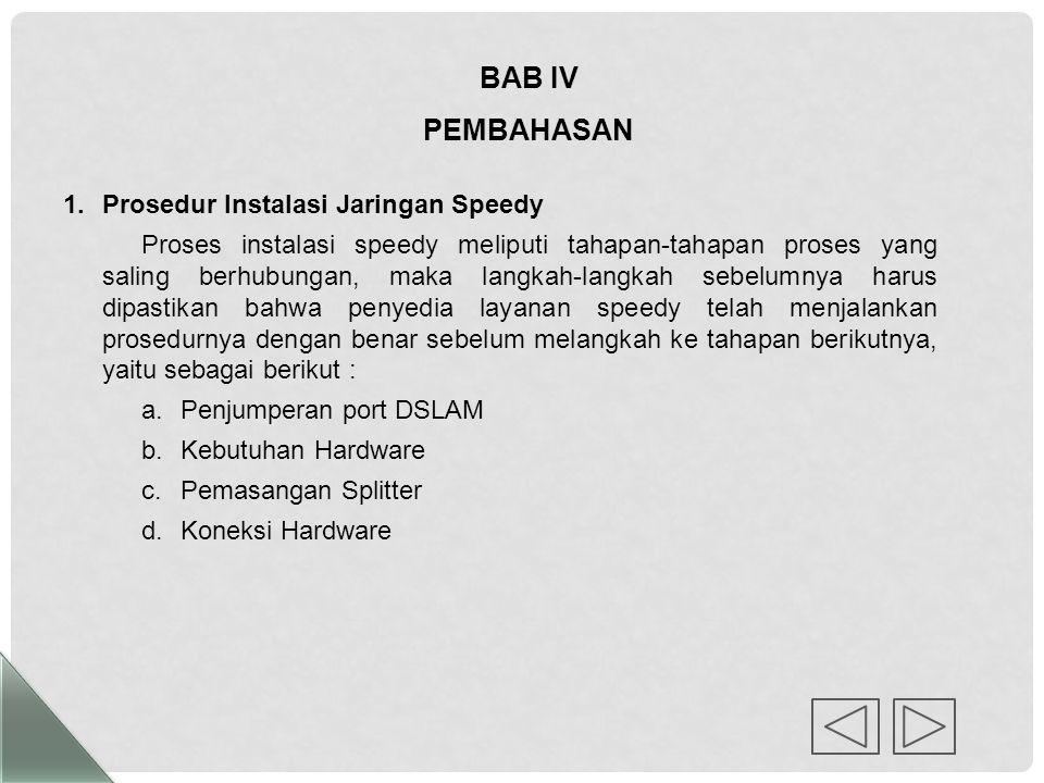 BAB IV PEMBAHASAN Prosedur Instalasi Jaringan Speedy
