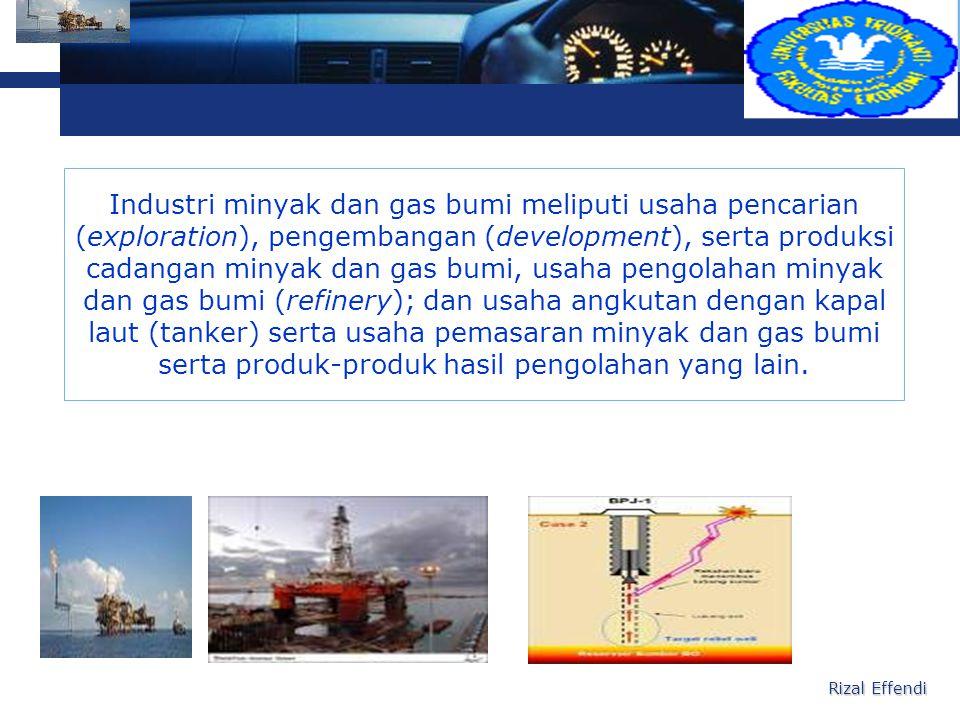 Industri minyak dan gas bumi meliputi usaha pencarian (exploration), pengembangan (development), serta produksi cadangan minyak dan gas bumi, usaha pengolahan minyak dan gas bumi (refinery); dan usaha angkutan dengan kapal laut (tanker) serta usaha pemasaran minyak dan gas bumi serta produk-produk hasil pengolahan yang lain.