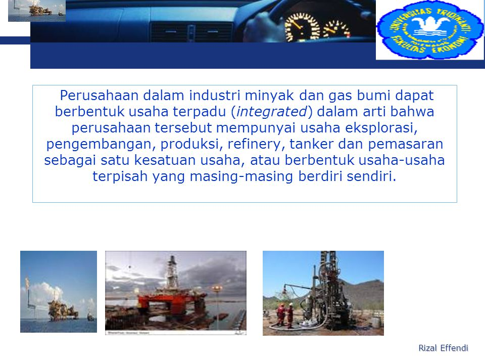 Perusahaan dalam industri minyak dan gas bumi dapat berbentuk usaha terpadu (integrated) dalam arti bahwa perusahaan tersebut mempunyai usaha eksplorasi, pengembangan, produksi, refinery, tanker dan pemasaran sebagai satu kesatuan usaha, atau berbentuk usaha-usaha terpisah yang masing-masing berdiri sendiri.