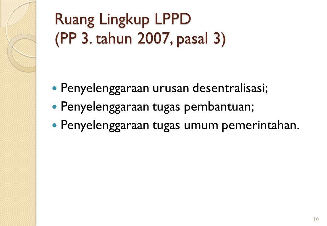 Ruang Lingkup LPPD (PP 3. tahun 2007, pasal 3)
