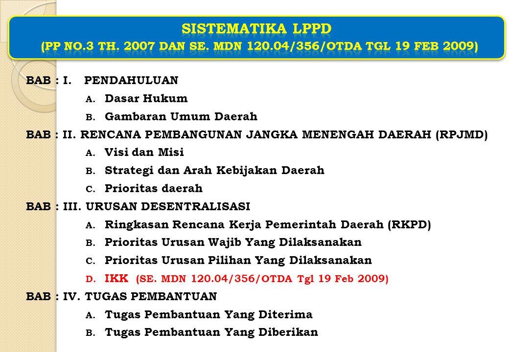 SISTEMATIKA LPPD (PP No. 3 Th. 2007 dan SE. MDN 120