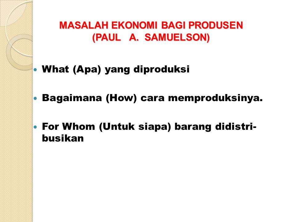 MASALAH EKONOMI BAGI PRODUSEN (PAUL A. SAMUELSON)