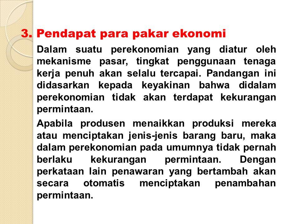 3. Pendapat para pakar ekonomi