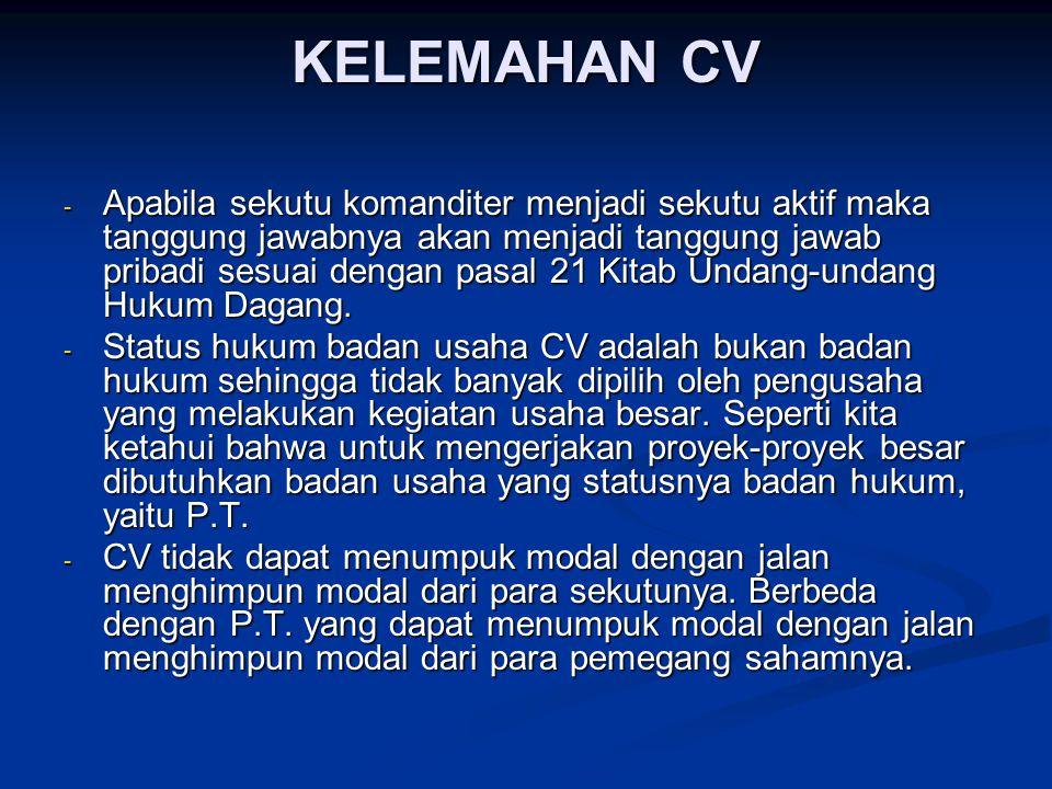KELEMAHAN CV