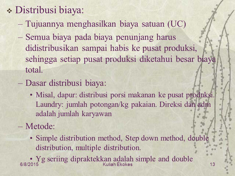 Distribusi biaya: Tujuannya menghasilkan biaya satuan (UC)