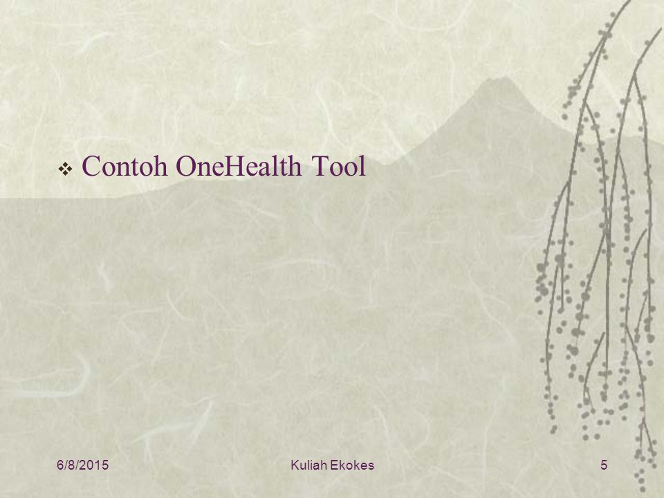 Contoh OneHealth Tool 4/16/2017 Kuliah Ekokes