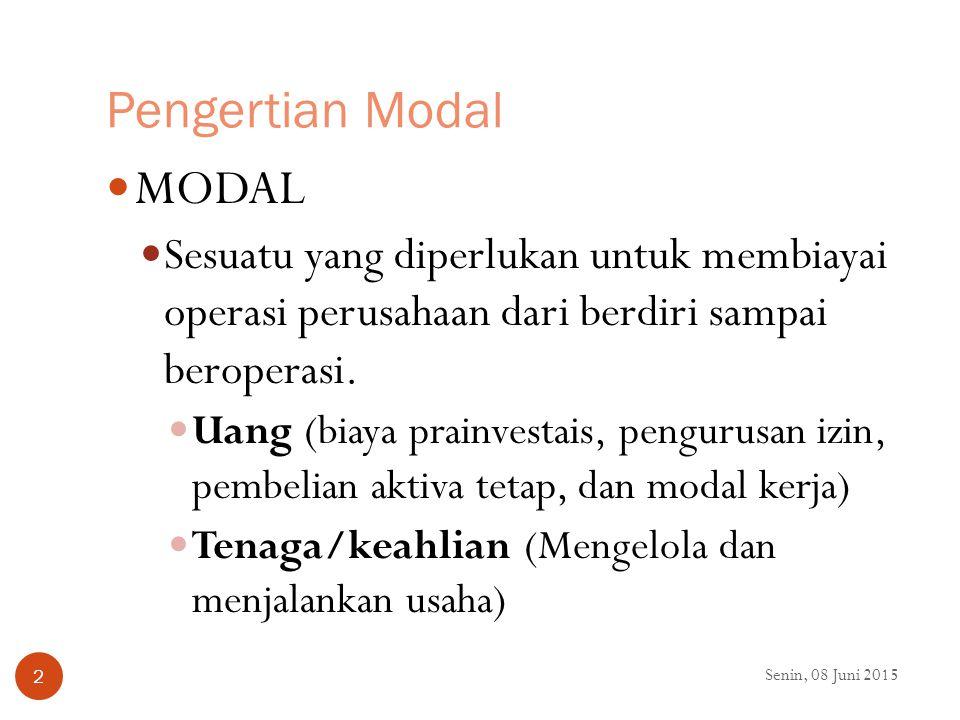 Pengertian Modal MODAL