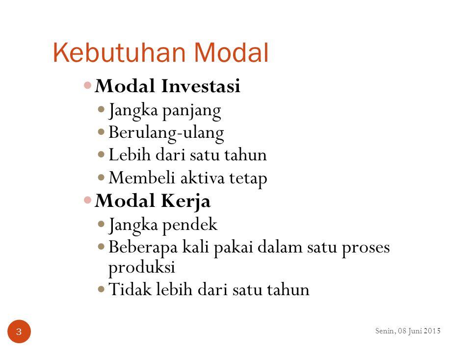 Kebutuhan Modal Modal Investasi Modal Kerja Jangka panjang