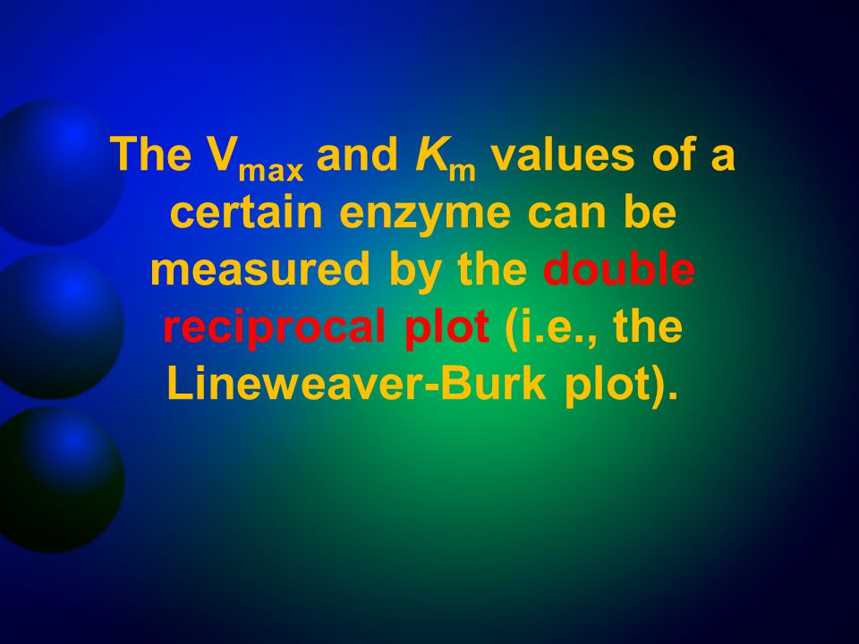 The Vmax and Km values of a certain enzyme can be measured by the double reciprocal plot (i.e., the Lineweaver-Burk plot).