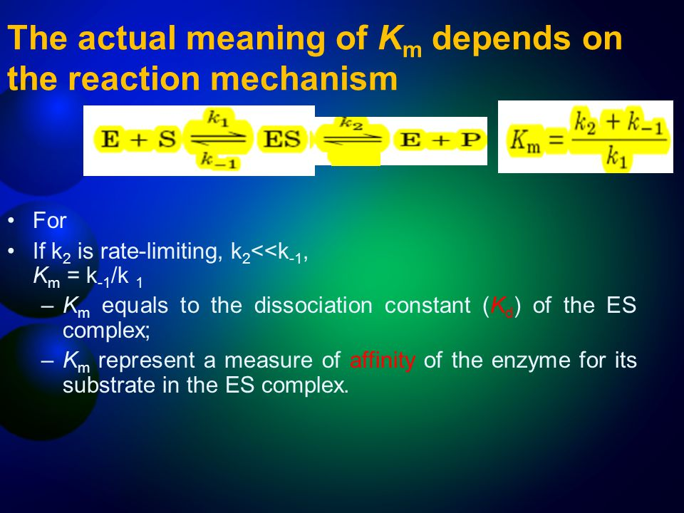 The actual meaning of Km depends on the reaction mechanism