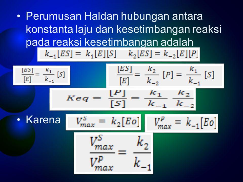 Perumusan Haldan hubungan antara konstanta laju dan kesetimbangan reaksi pada reaksi kesetimbangan adalah