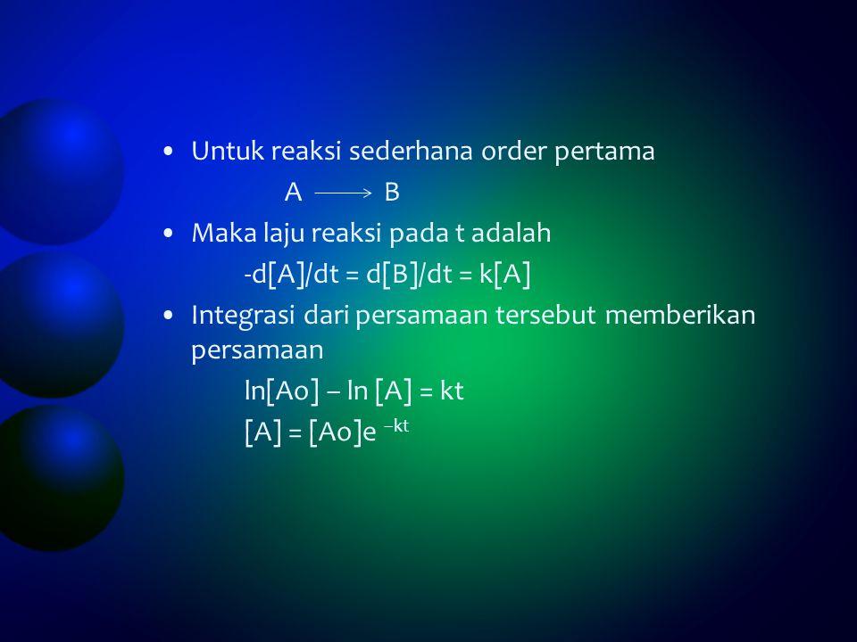 Untuk reaksi sederhana order pertama