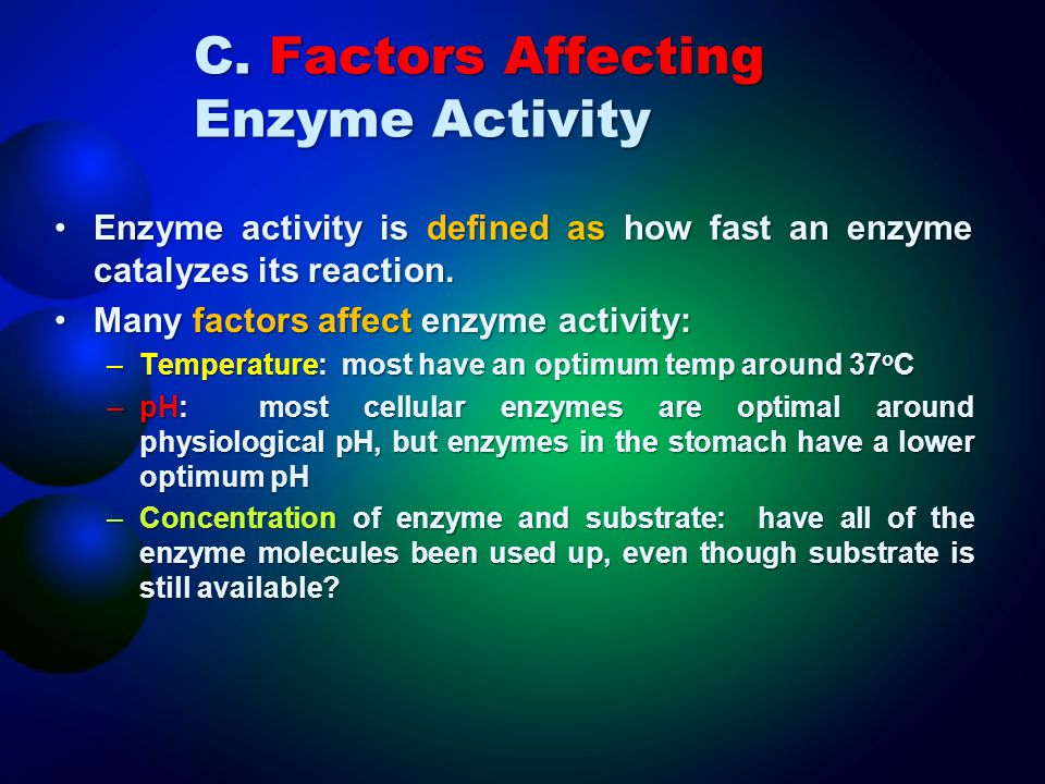 C. Factors Affecting Enzyme Activity