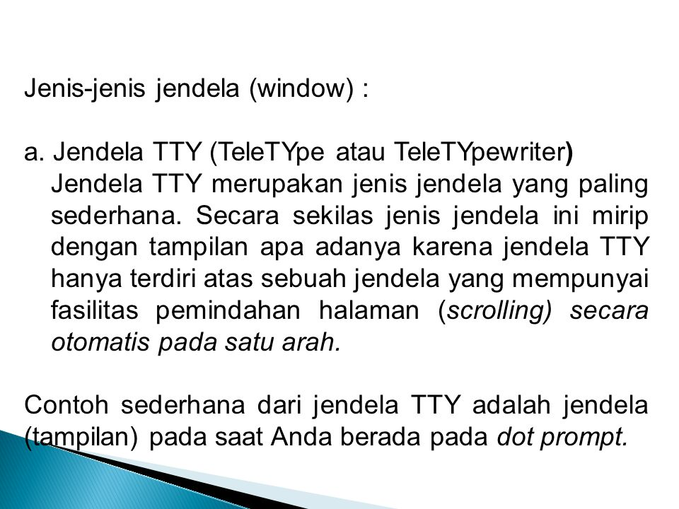 Jenis-jenis jendela (window) :