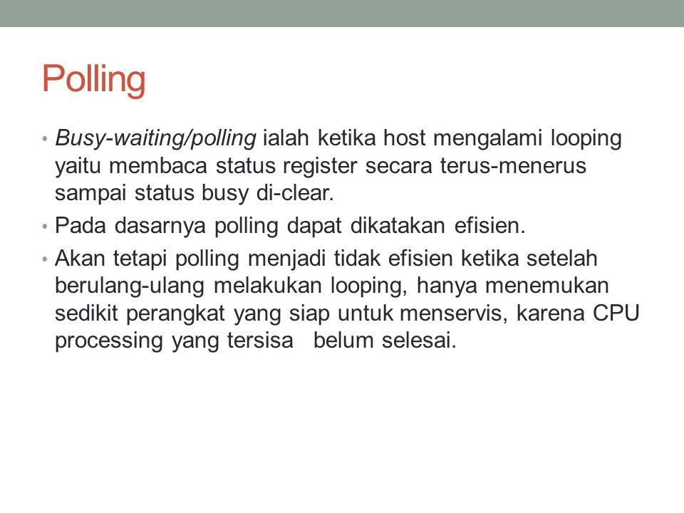 Polling Busy-waiting/polling ialah ketika host mengalami looping yaitu membaca status register secara terus-menerus sampai status busy di-clear.