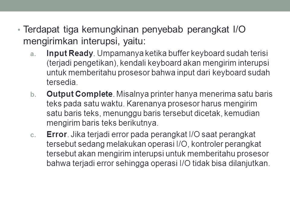 Terdapat tiga kemungkinan penyebab perangkat I/O mengirimkan interupsi, yaitu: