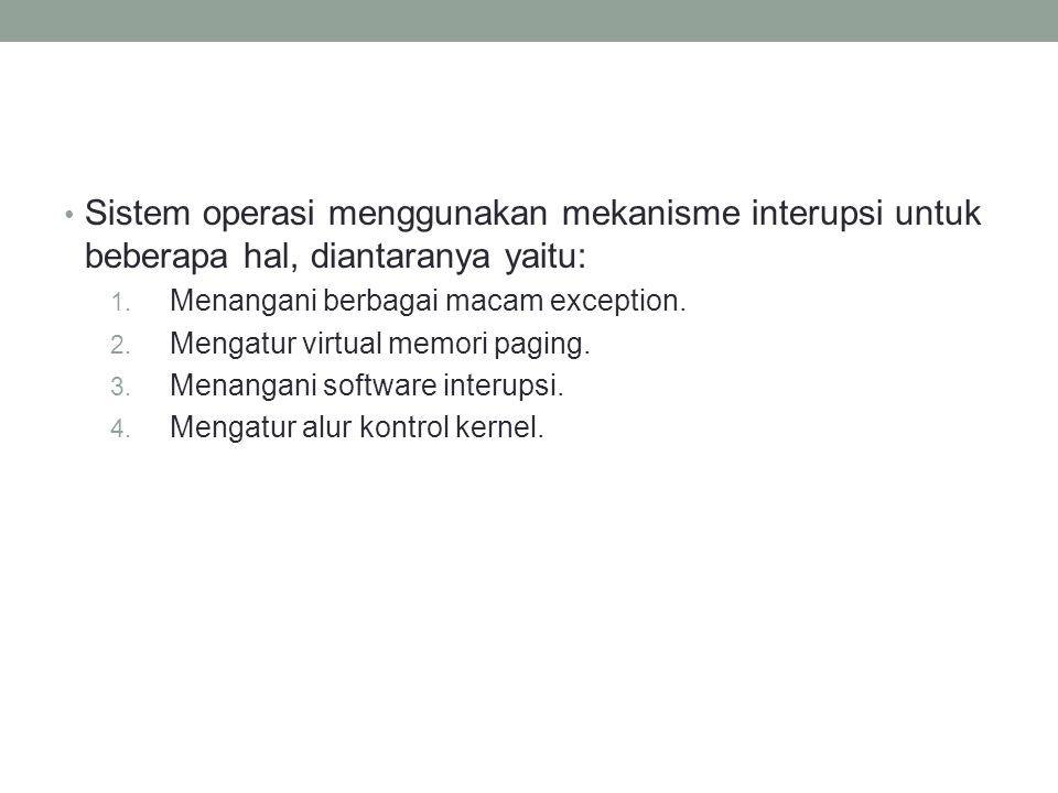 Sistem operasi menggunakan mekanisme interupsi untuk beberapa hal, diantaranya yaitu:
