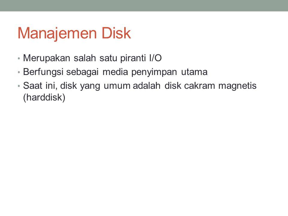 Manajemen Disk Merupakan salah satu piranti I/O