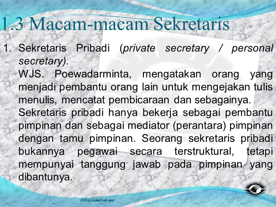 1.3 Macam-macam Sekretaris