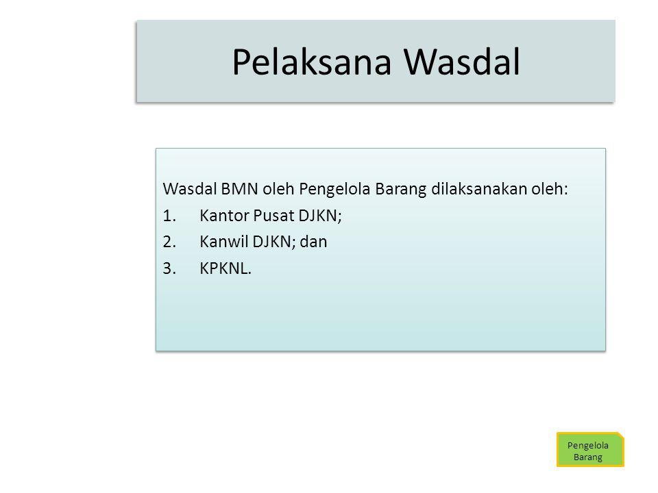Pelaksana Wasdal Wasdal BMN oleh Pengelola Barang dilaksanakan oleh:
