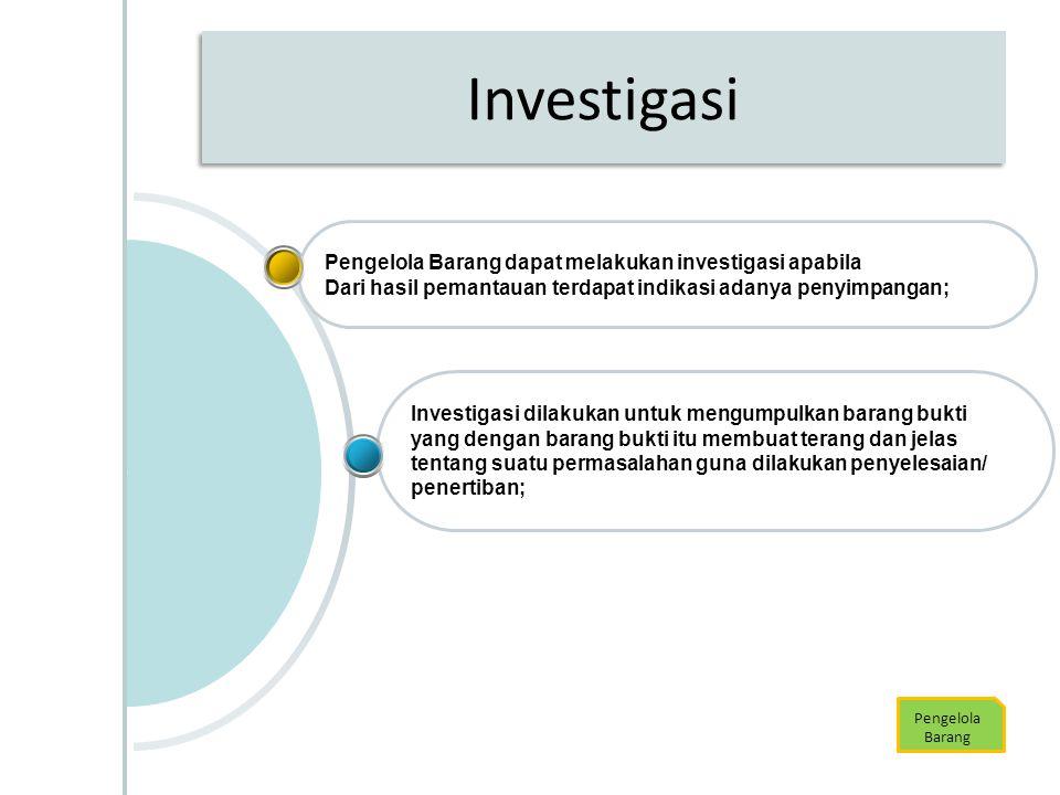Investigasi Pengelola Barang dapat melakukan investigasi apabila