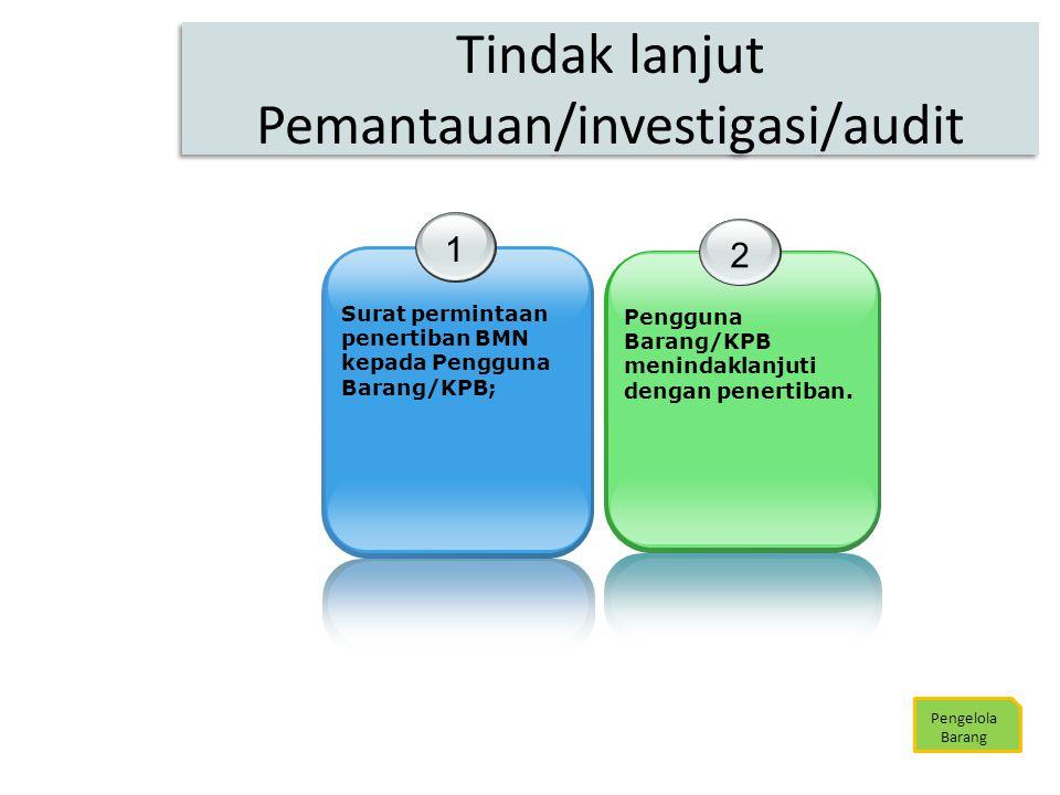 Tindak lanjut Pemantauan/investigasi/audit