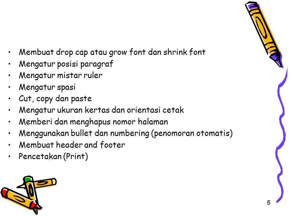 Membuat drop cap atau grow font dan shrink font