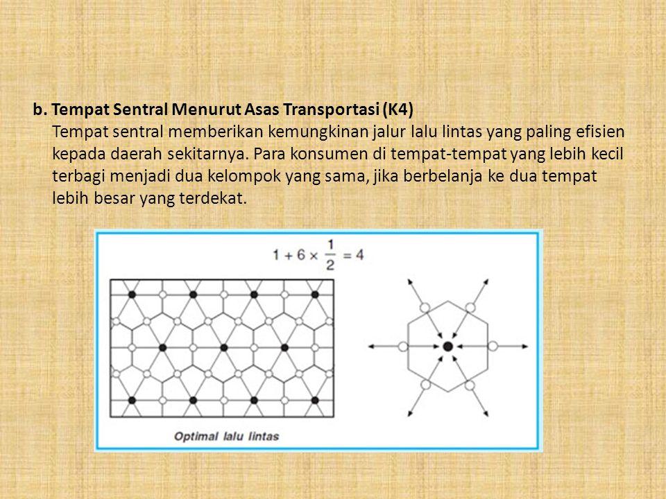 b. Tempat Sentral Menurut Asas Transportasi (K4)